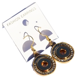 mini snap gold earring with stone