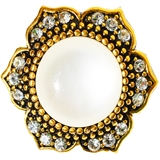 snap gold flower shape with white pearl 416