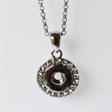 "mini snap silver necklace with stone 18""chain"